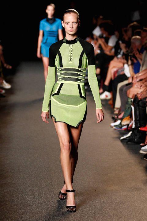 Clothing, Footwear, Leg, Fashion show, Brown, Human leg, Event, Shoulder, Runway, Joint,