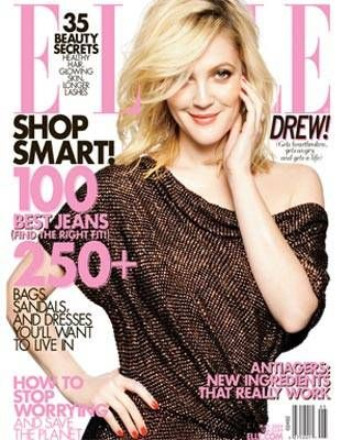 Drew Barrymore on May ELLE cover