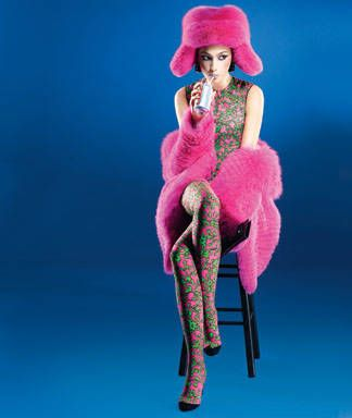 Magenta, Pink, Costume accessory, Fashion, Knee, Artist, Thigh, Sun hat, Costume, Fur,