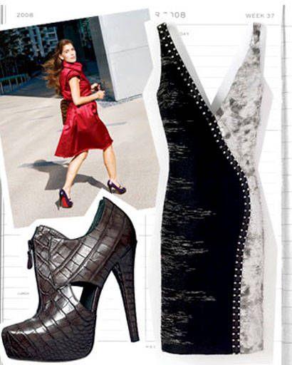 White, Pattern, Style, Dress, High heels, Fashion, Carmine, Street fashion, Boot, Fashion design,
