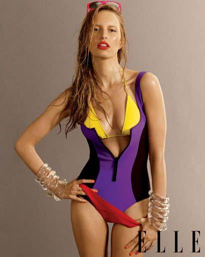 Karolina Kurkova in a maillot swimsuit