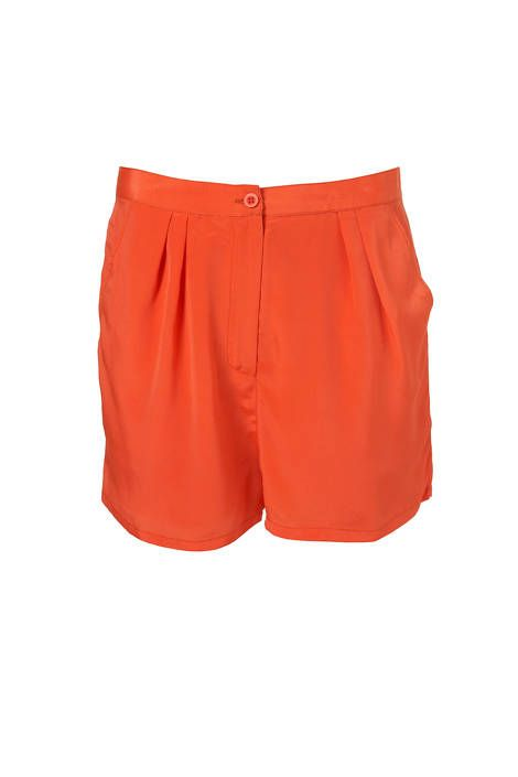 Topshop tangerine pleat shorts