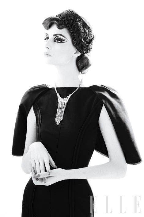 Wool bat-sleeve dress, Fendi