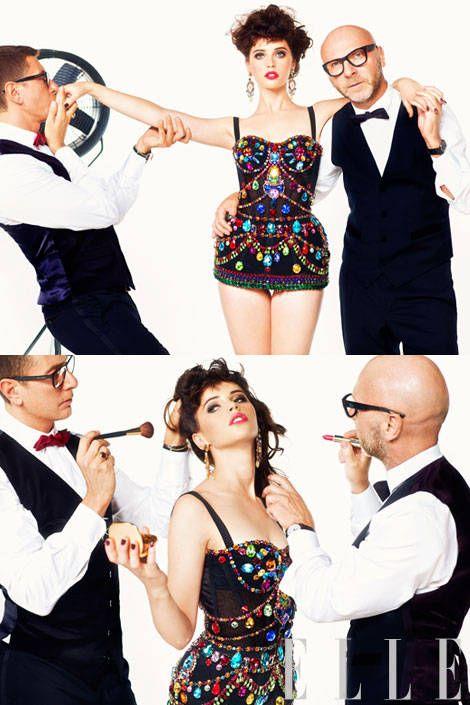 Jeweled bodysuit, earrings, Dolce & Gabbana