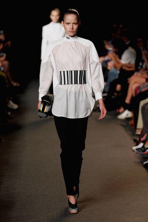 Clothing, Fashion show, Shoulder, Joint, Outerwear, Fashion model, Style, Runway, Fashion, Street fashion,