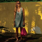 Sunglasses, Bag, Dress, Fashion accessory, Street fashion, Luggage and bags, Blond, Goggles, Day dress, Fawn,