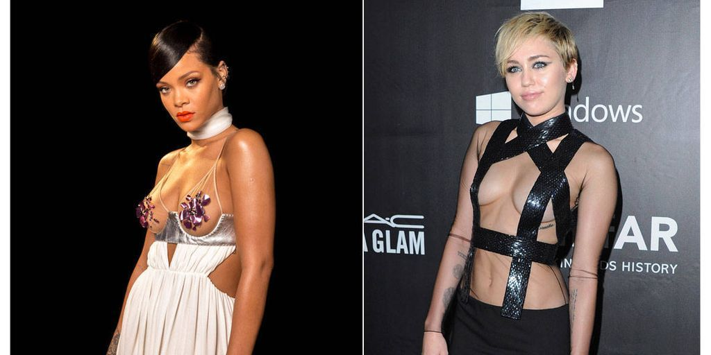 Rihanna and Miley Cyrus Got Naked-ish for Charity Last Night