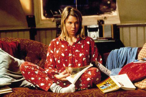 Human, Sitting, Comfort, Carmine, Lap, Television, Television set, Present, Opening presents, Pajamas,