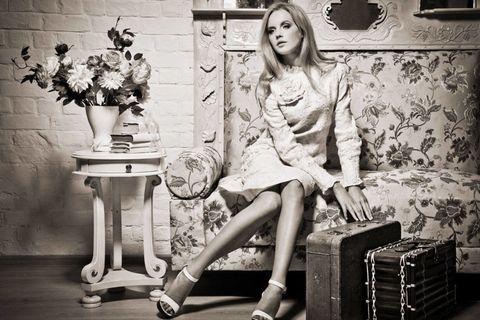 Human, White, Style, Monochrome, Monochrome photography, Black-and-white, Dress, Beauty, Photography, Flowerpot,