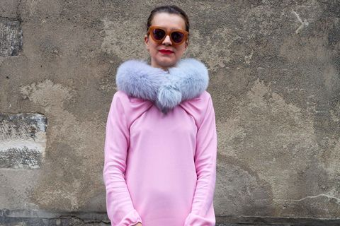 Clothing, Sleeve, Textile, Outerwear, Magenta, Pink, Jacket, Street fashion, Purple, Sunglasses,