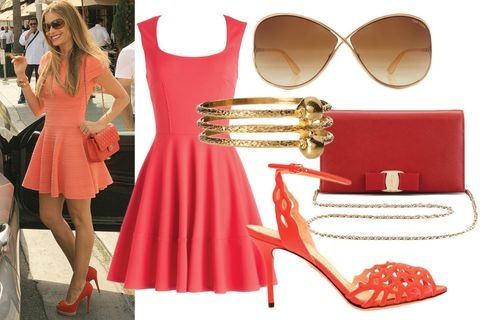 Eyewear, Vision care, Dress, Red, Bag, Sunglasses, Fashion accessory, Style, Goggles, Luggage and bags,