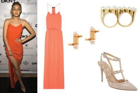 Dress, Red, Orange, Formal wear, One-piece garment, Style, Pattern, Waist, Day dress, Cocktail dress,