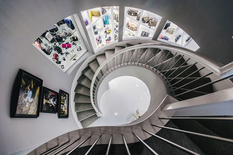 Stairs, Interior design, Art, Picture frame, Space, Handrail, Spiral, Design, Circle, Visual arts,