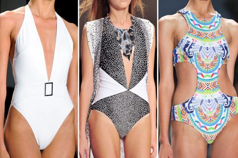 One-piece swimsuit, Fashion, Neck, Swimwear, Maillot, Thigh, Chest, Monokini, Fashion design, Leotard,