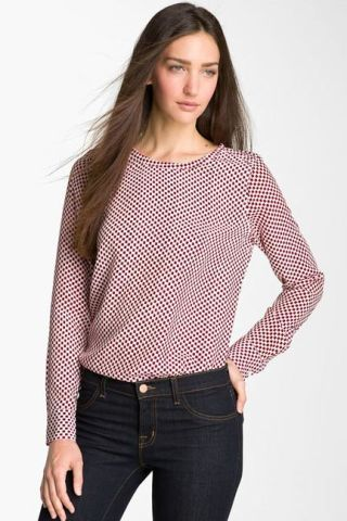 equipment red polka dot liam silk top