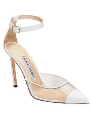 manolo blahnik white pvc heels