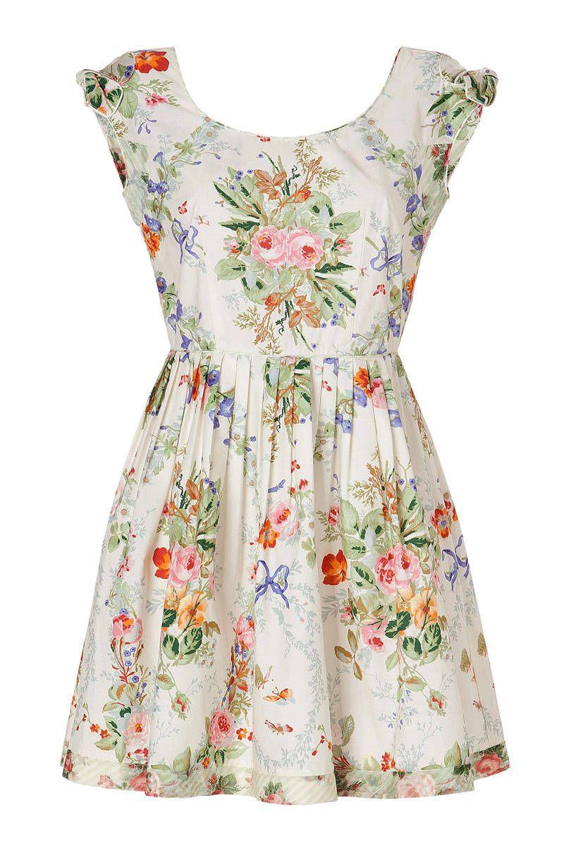 anna sui cotton floral print dress in cream multi