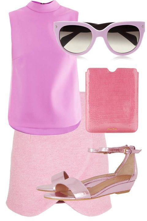 Eyewear, Goggles, Pink, Sunglasses, Purple, Magenta, Personal protective equipment, Lavender, Peach, Sleeveless shirt,