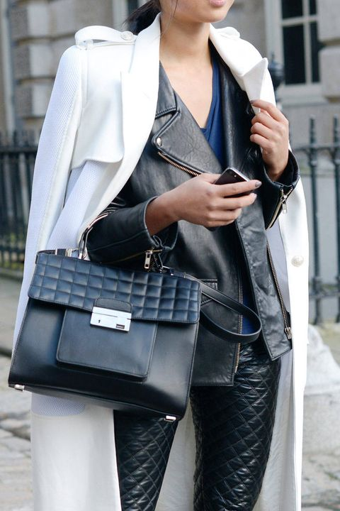 Bag, Textile, Outerwear, Jacket, Style, Street fashion, Beauty, Fashion, Luggage and bags, Black,