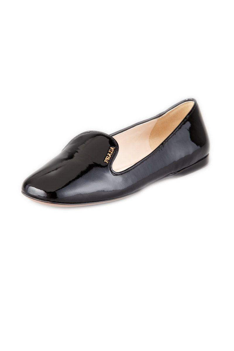 prada patent leather smoking slipper