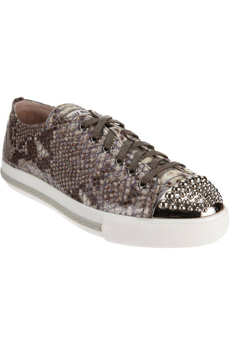 miu miu snakeskin studded sneakers