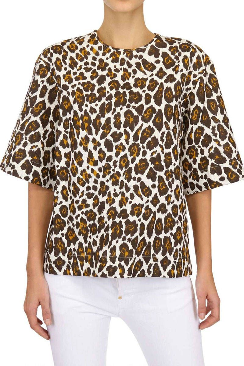 stella mccartney leopard linen top