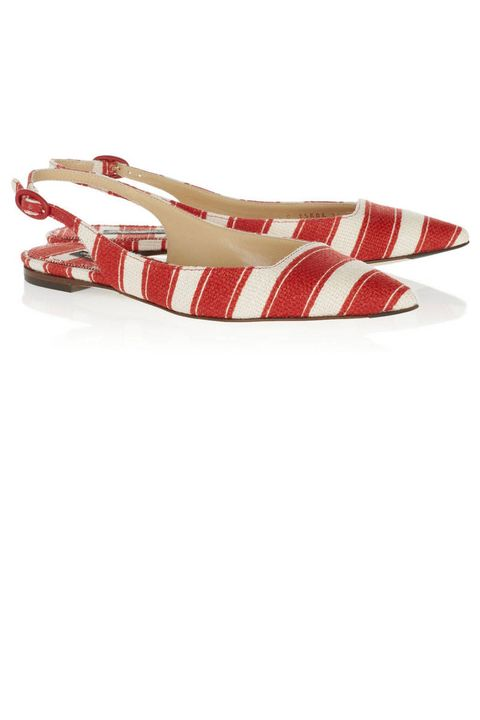 dolce and gabbana red striped flats