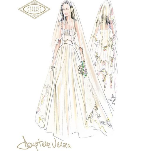 See Angelina Jolie S Wedding Dress Angelina Jolie Versace Wedding Dress
