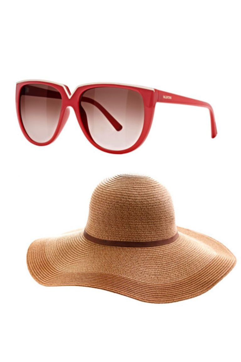 valentino sunglasses, jcrew straw hat