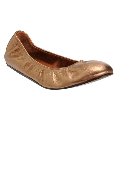 lanvin gold metallic flats