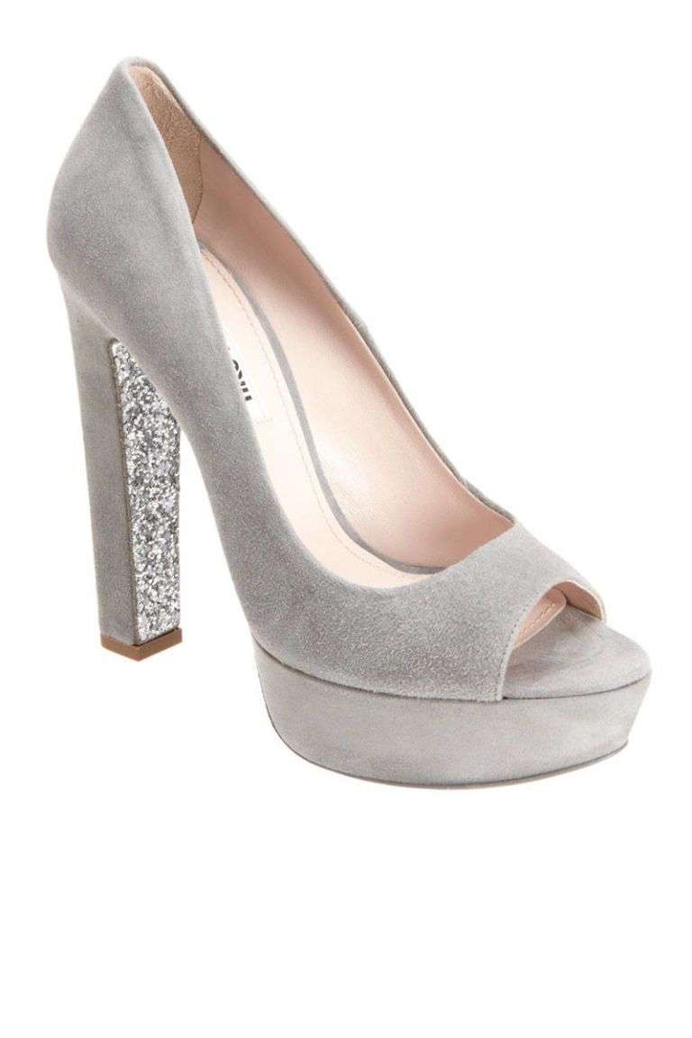 miu miu grey glitter pumps