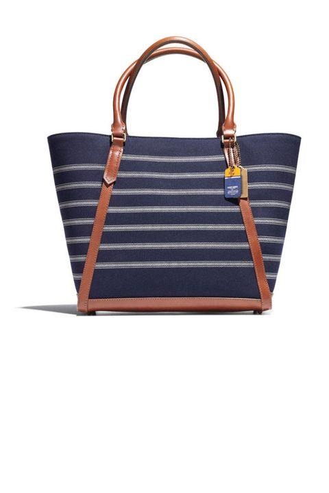 saint james coach navy striped tote