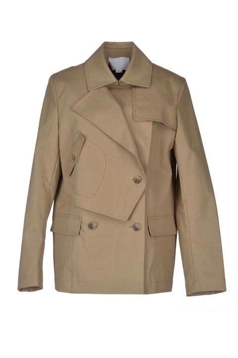 Clothing, Coat, Brown, Collar, Sleeve, Dress shirt, Textile, Outerwear, Khaki, Blazer,