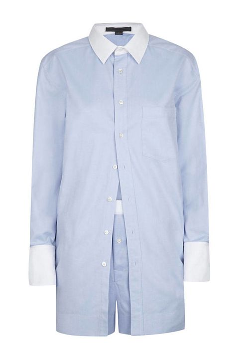 Clothing, Blue, Product, Collar, Sleeve, Textile, Outerwear, White, Dress shirt, Coat,