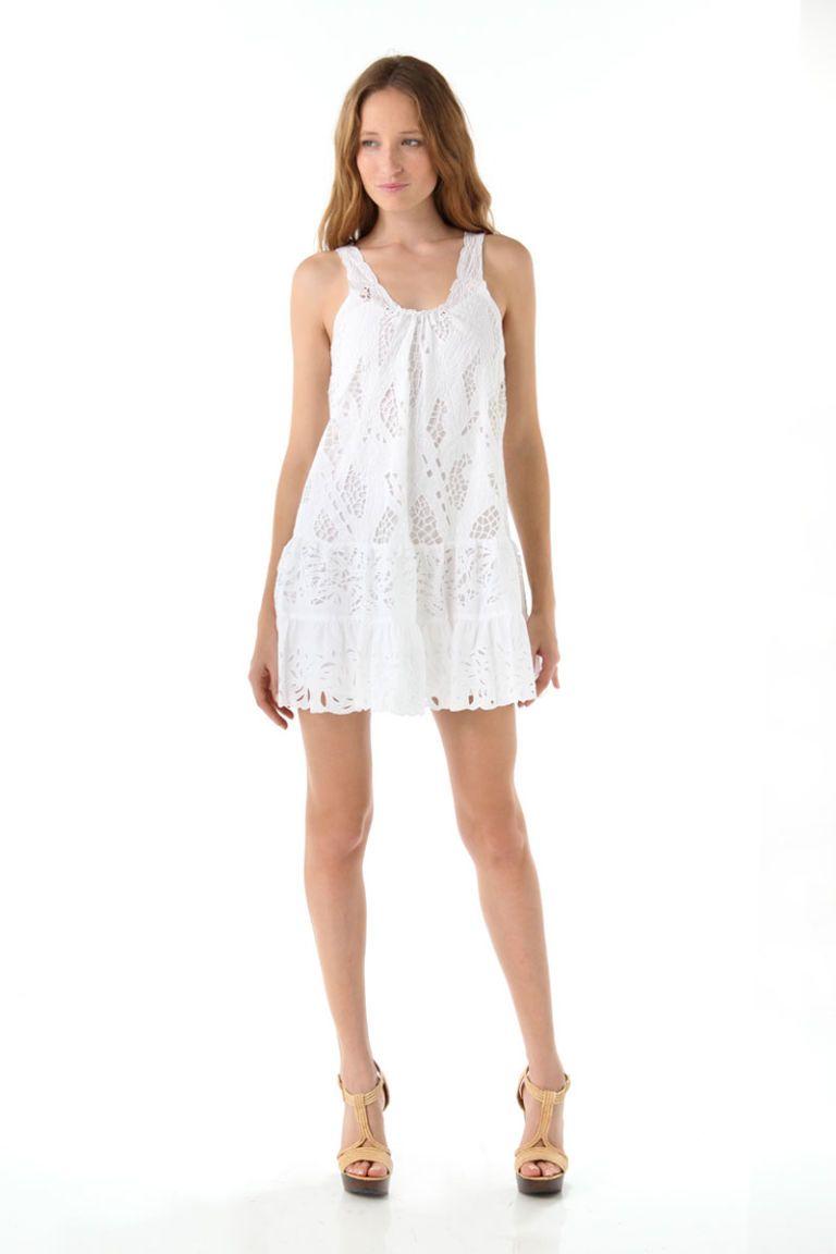 catherine malandrino white lace tank dress