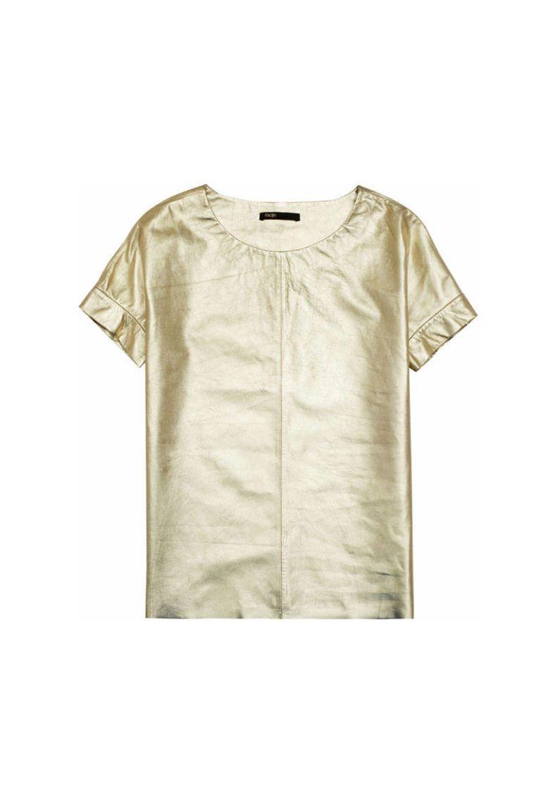 maje metallic gold leather t shirt