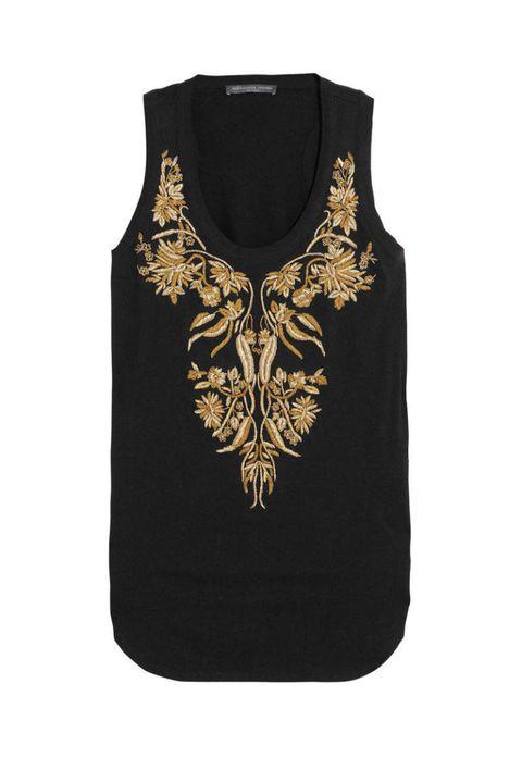 alexander mcqueen gold black embroidered tank