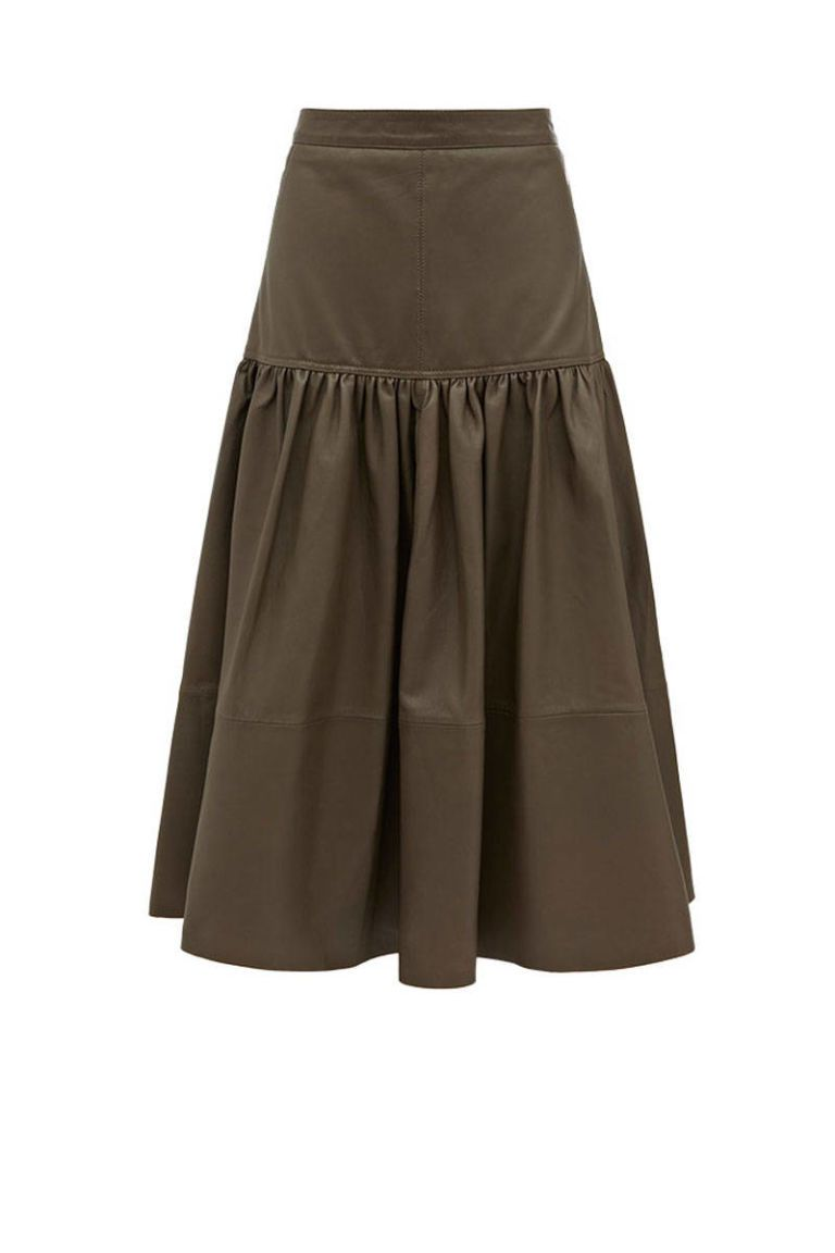 reiss barrett olive leather skirt