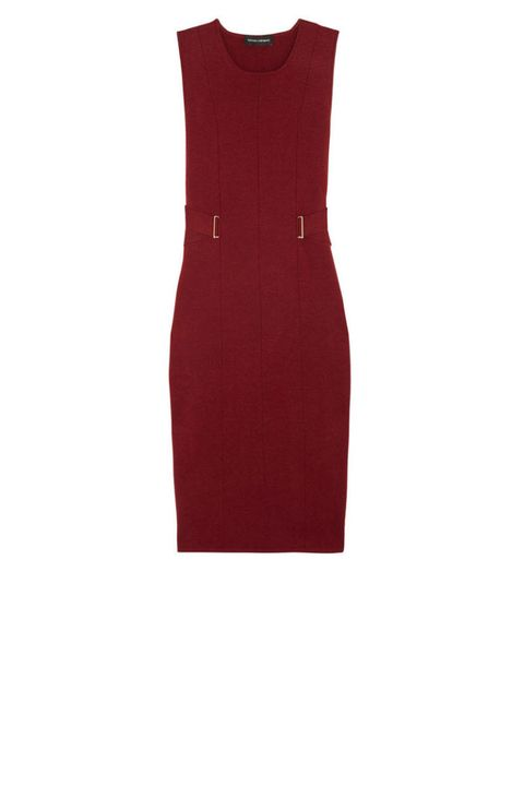 narciso rodriguez red belted sheath dress