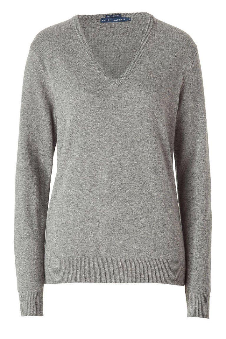 ralph lauren gray cashmere sweater