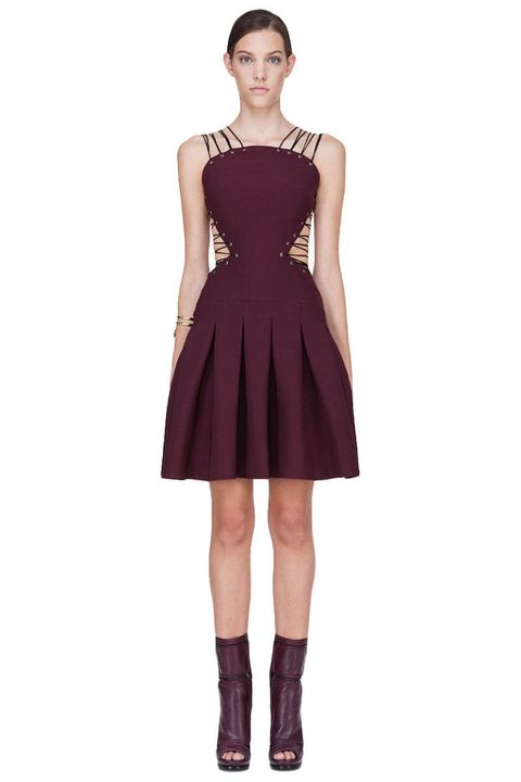 versus multi-strap oxblood dress