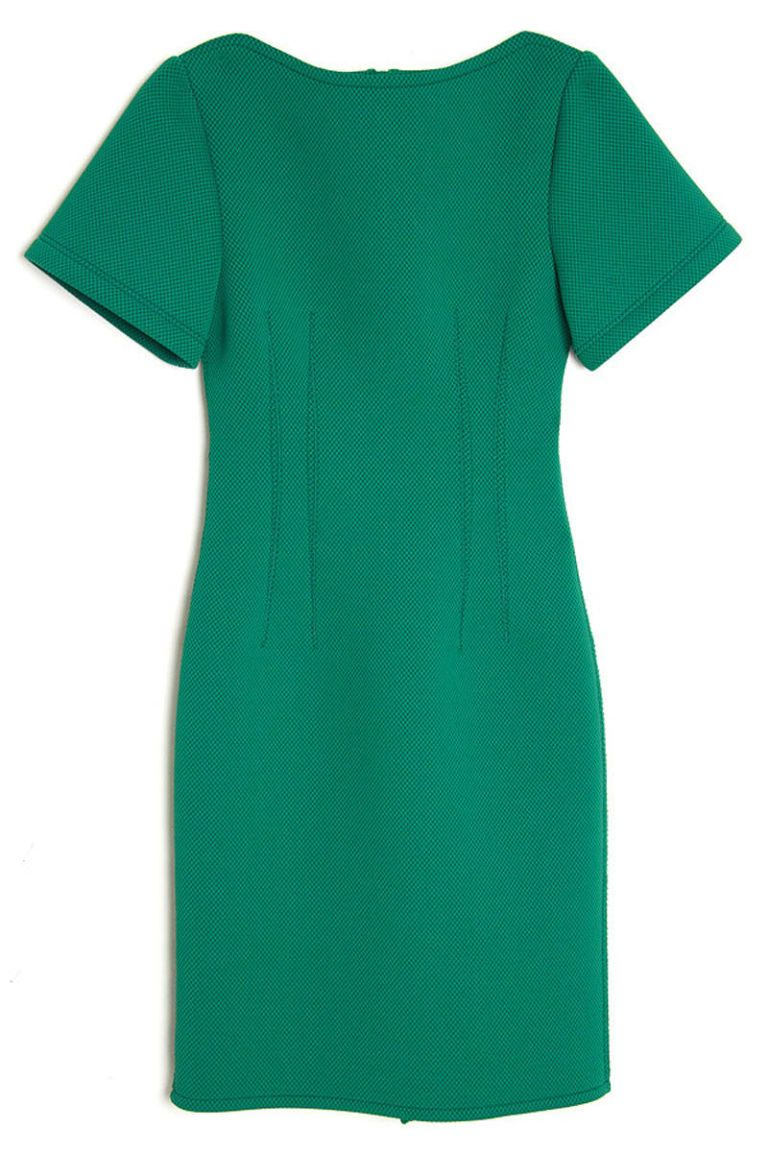 lanvin short sleeve green techno dress