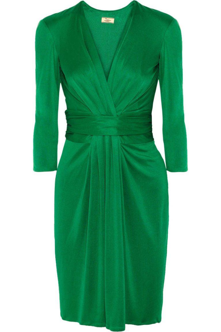 issa ruched silk green dress