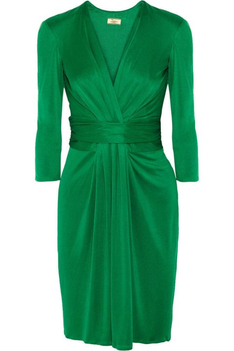 issa ruched silk green dress