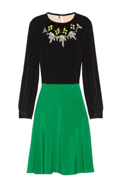 marni green black dress