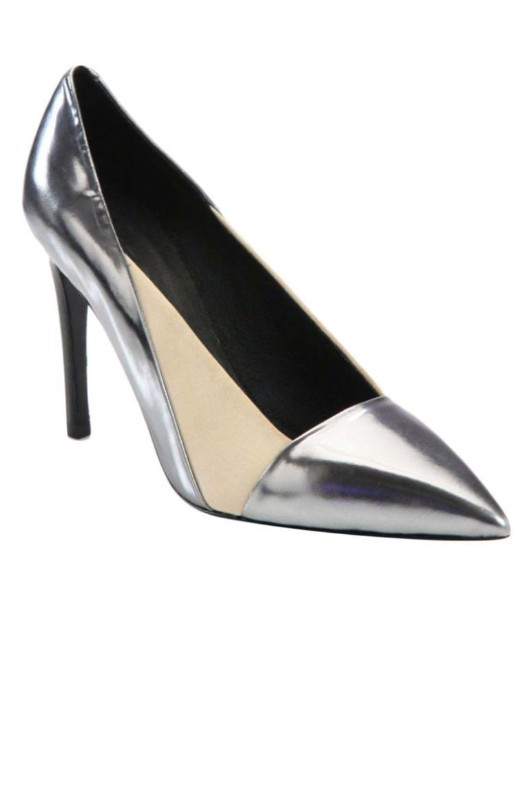 See by Chloé Metallic Leather and Satin Pumps