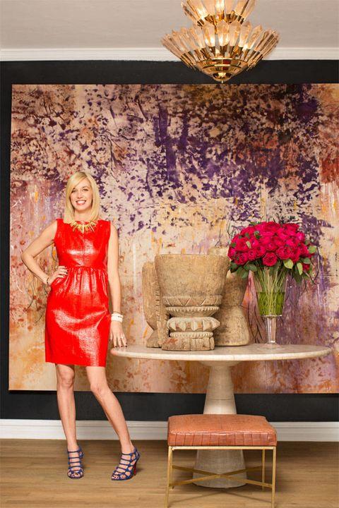 Dress, Human leg, Interior design, Petal, Interior design, One-piece garment, Ceiling, Bouquet, Light fixture, Chandelier,