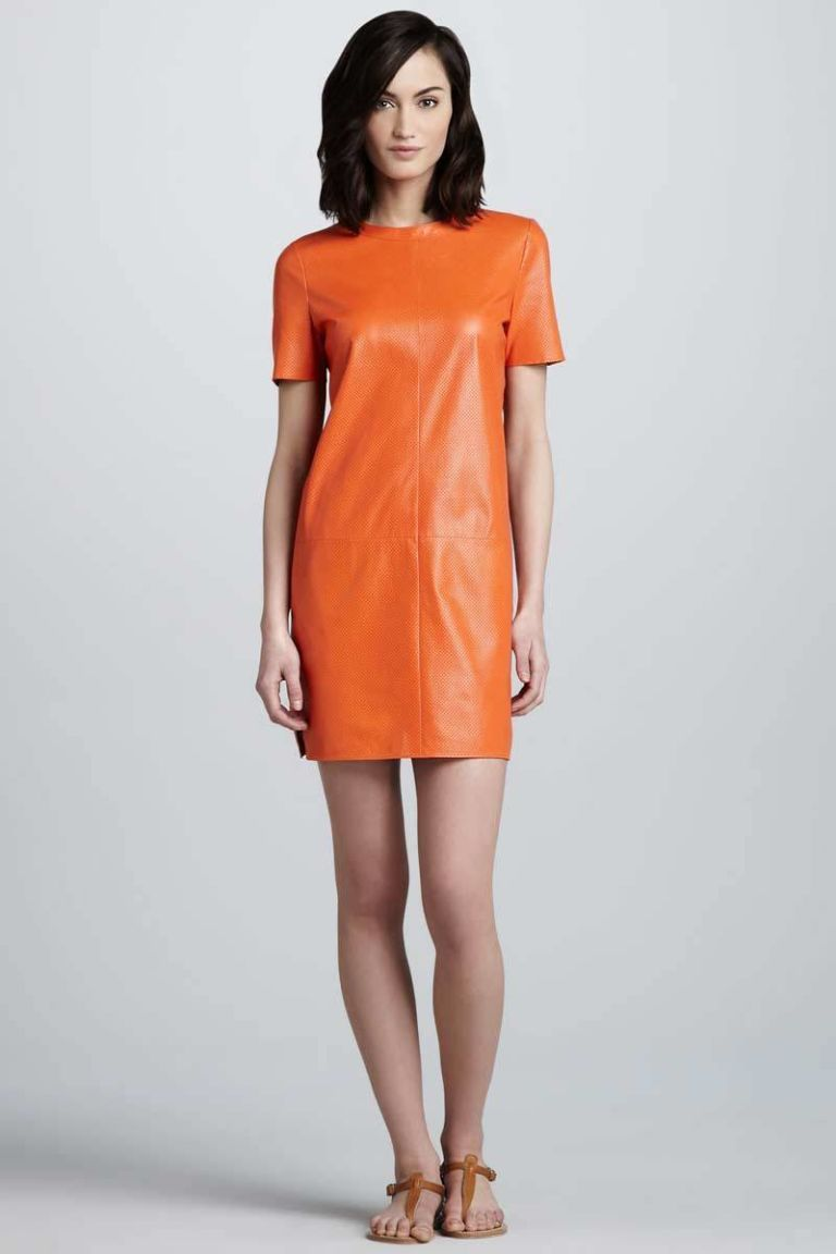 vince orange perforated leather shift dress