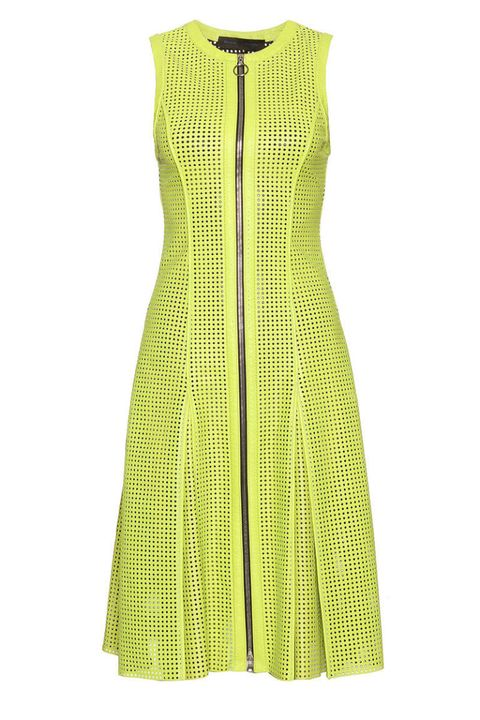 proenza schouler yellow perforated leather dress
