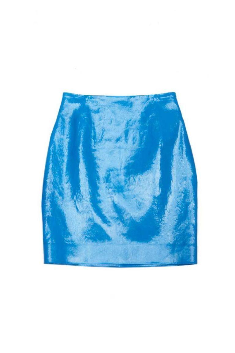 mugler high waist patent skirt